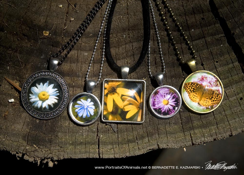 Cabochon Pendants made with photos of wildflowers and butterflies from the trail.