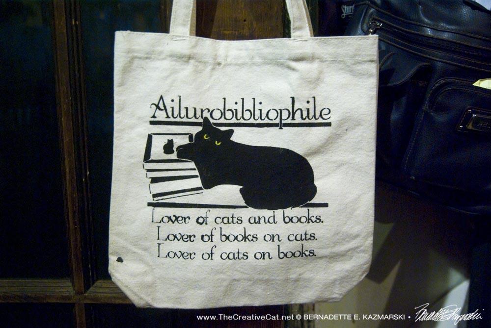 Ailurobibliophile bag closeup.