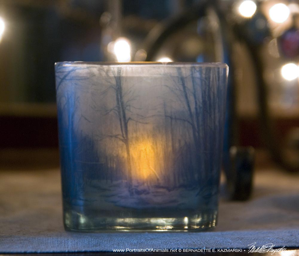 Dusk in the Woods votive, side.