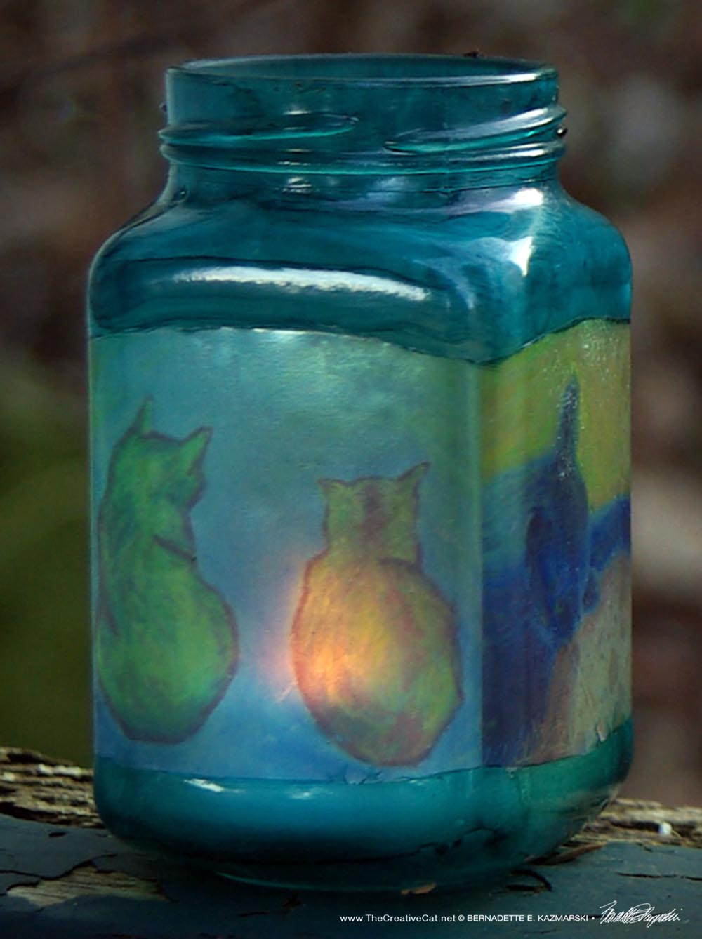 Cats After van Gogh Feline Votive