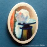 "White Cat Reflecting 1.5"" Oval Magnet"