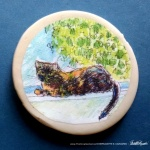 Kelly on the Windowsill 2″ Round Magnet