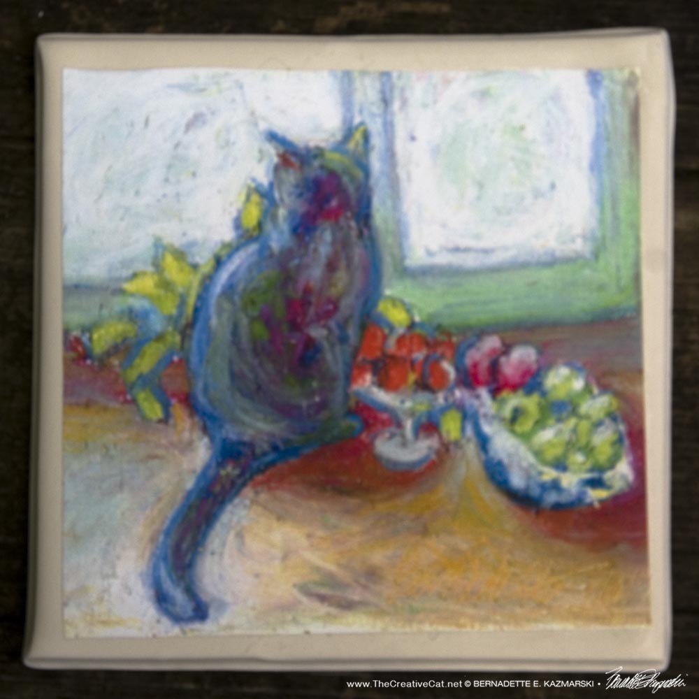 Cat With Fruit tile