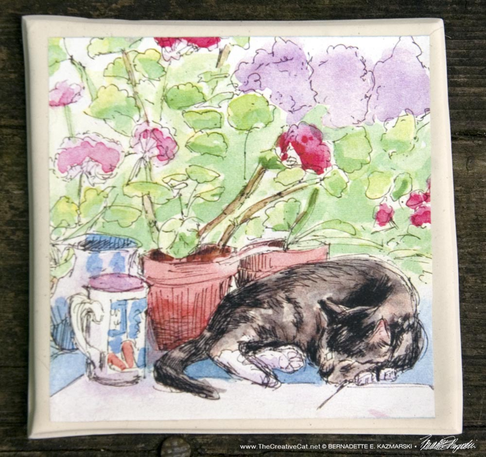 Stanley With Geraniums