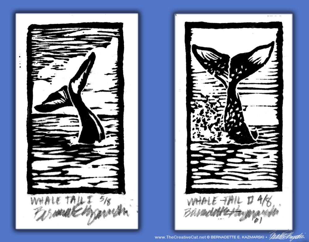 Whale Tail I and II, linoleum block prints