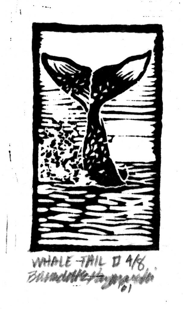 Whale Tail II, Linoleum Block Print
