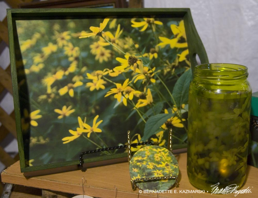 Woodland Sunflowers assortment: tray, votive and coaster.