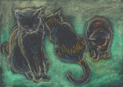 """Hangin' in the Kitchen"", pastel and pastel pencil, 12″ x 9″ © Bernadette E. Kazmarski"