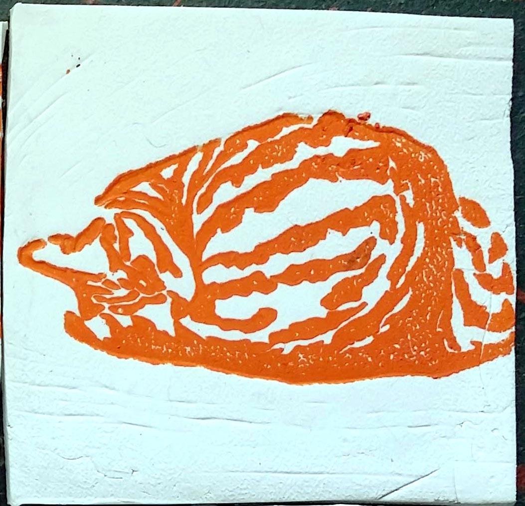 "Tabbies Tiles orange, ""Fawnball"""