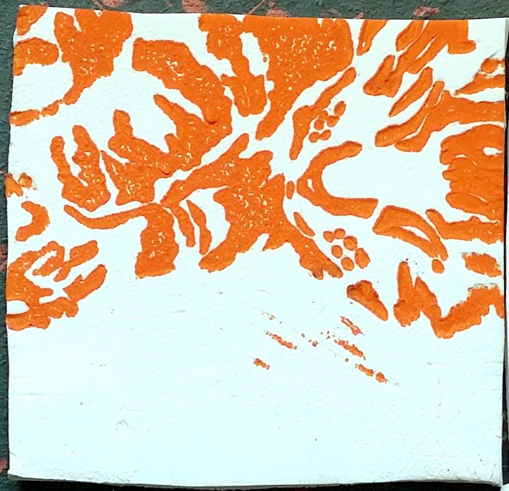 "Tabbies Tiles orange, ""Wrinkled Pajamas"""