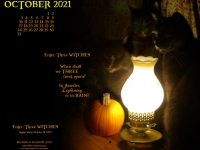 Featured Feline Artwork and October Desktop Calendar: Enter Three WITCHES