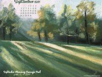 September Nature Desktop Calendar: September Morning, Carnegie Park
