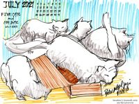 July Feline Featured Artwork and Desktop Calendar: Five Cats and One Box