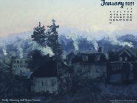 January Nature Desktop Calendar: Frosty Morning, Just Before Sunrise