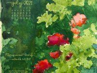 July Nature Desktop Calendar: Geraniums and Parsley