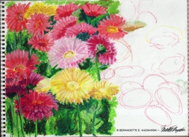 February 2020 Personal Creative Challenge, Day 3: Greenhouse Gerberas (so far)
