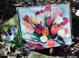 Tulips for Spring on an Vintage Cigar Box Keepsake