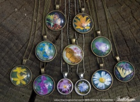 Flower and Butterfly Cabochon Pendants, Two for $25.00
