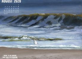 August Nature Desktop Calendar: I Want To Be Where That Gull Is Standing