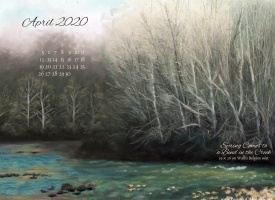 April Nature Desktop Calendar: Spring Comes to a Bend in the Creek