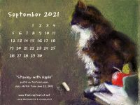 Featured Artwork and September Desktop Calendar: Stanley With Apple