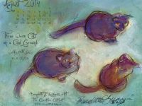 """August Featured Artwork and Desktop Calendar: """"Three Warm Cats on a Cool Ground"""""""